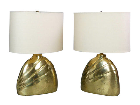 A Pair of Italian Cast Brass Lamps