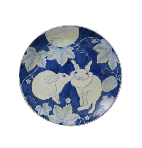 A Japanese Ceramic Plate with Rabbits