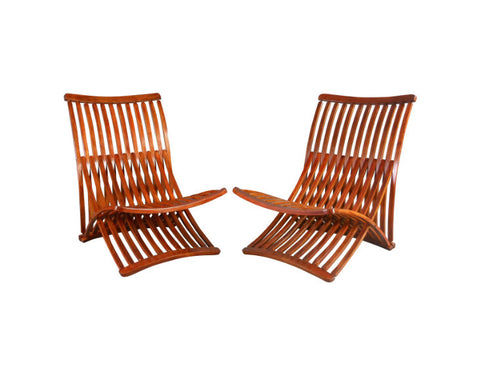 A Pair of Canadian Birch Steamer Chairs