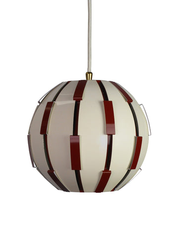 A Brown and White Globe Hanging Light