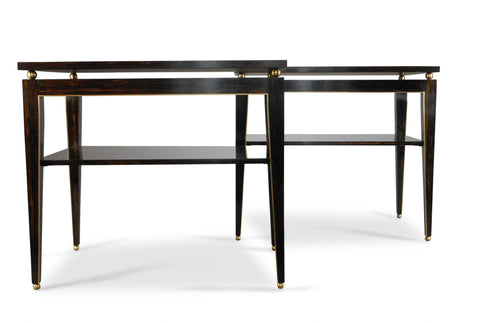 A Pair of Brass Mounted Palmwood Tables by Gerard Ferretti