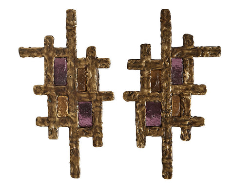 A Pair of Bronze Vitrail Sconces by Lynx Design