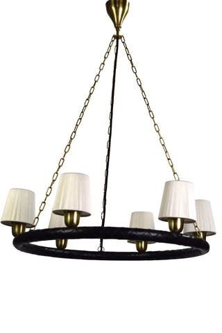 A Swedish Brass and Leather Chandelier