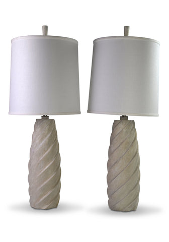 A Pair of Cerused Oak Spiral Lamps