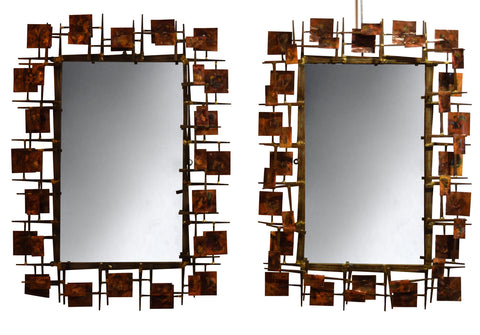 A Pair of Rectangular Brutalist Mirrors