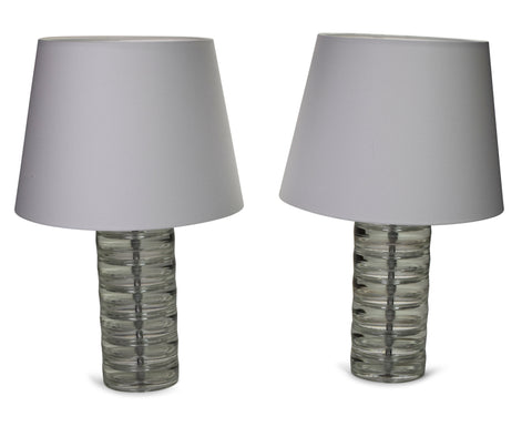Pair of Swedish Glass Column Lamps