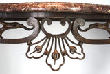 French Rococo Iron Console Table with a Marble Top