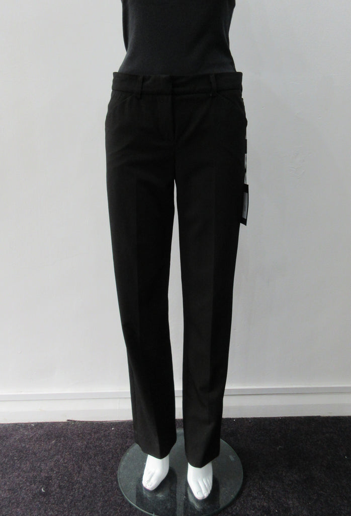 Black Stretch Trouser. Fully tailored. Lower waist black trouser with slight stretch for comfort & ease. Size 8