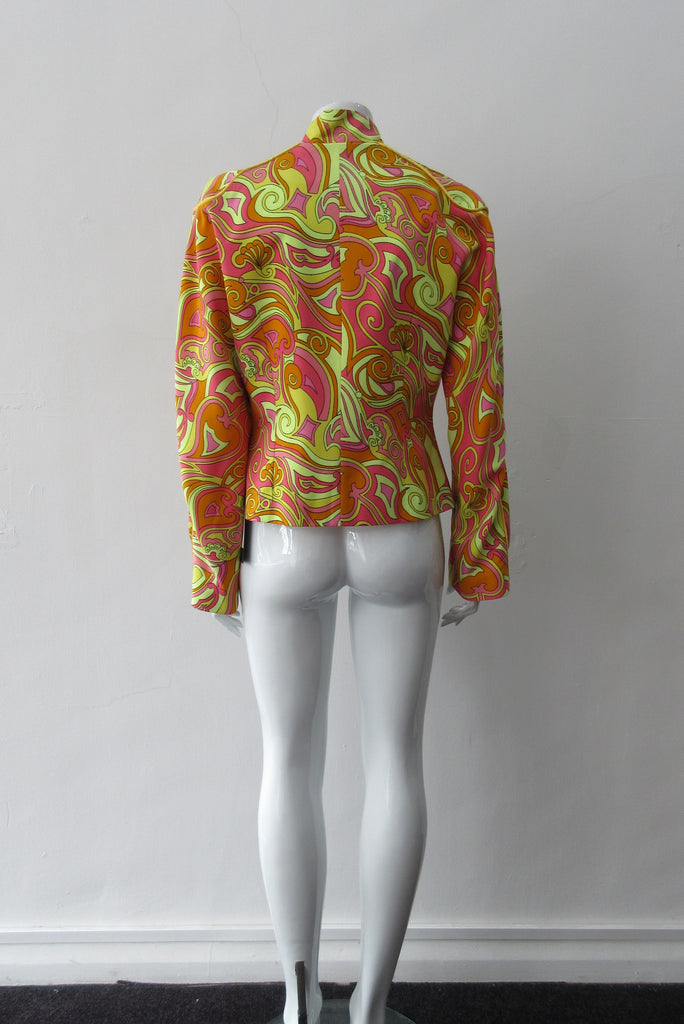 Bright Yellow Print Jacket. Bright loose fitting zippered jacket with 60's style yellow, pink and orange design. Chinese style piping trim accent in yellow satin piping.  Fully lined. 100% Viscose. Lining: 100% Rayon, Dry Clean Only. Made in Canada, 240g approximate weight