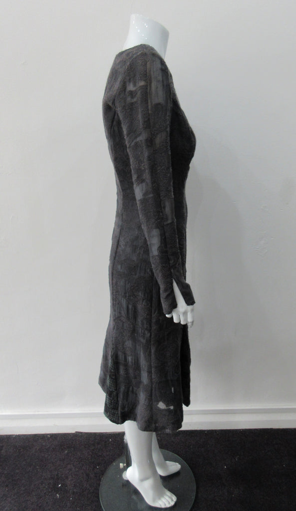 Godet Hem Dress. Rich charcoal grey below the knee dress with lower and wider cut neckline, Dress length from CB 106cm 450g approximate weight, Size 8, 27% Nylon, 25% Wool, 20% Cotton, 15% Viscose Contrast: 77% Viscose, 13% Nylon, 10% Cotton, Lining 100% Rayon