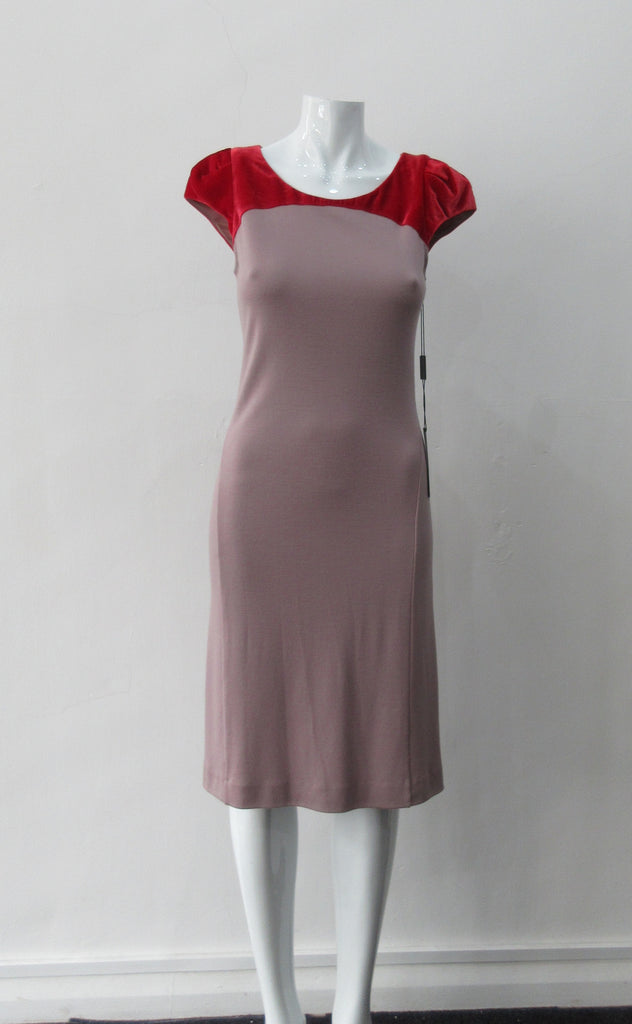 Contrast Yoke Dress, Soft Wool Jersey dress in light taupe with red velvet contrast yoke. Size 10. Dress length, 98cm from CB neck. 750g approximate weight. 100% Wool, Contrast: 100% Rayon. Made in England