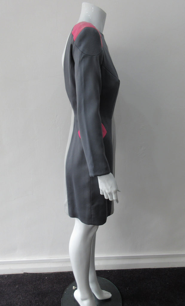 Complex Panelled Dress. Multi-panelled, multi-coloured wool dress in grey and pink panel accents. Very low back scoop to above waist.  Dress length froom CF neckpoint 90cm. 650g approximate weight. Size 8. 100% Wool, Lining 100% Rayon, Dry Cean Only. Made in England