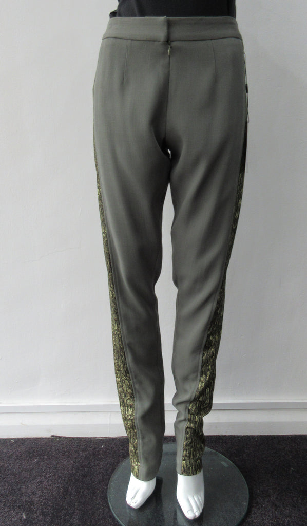 Fine wool weave with contrast bark print panel on sides and tapered at foot. Taupe green colour. Size 6, Inseam 92cm, Outseam 107cm, 100% Wool, Contrast: 100% Cotton, Dry Clean Only, Made in England