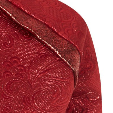 Rouge jacket crop red texture jacquard close-up image photo picture