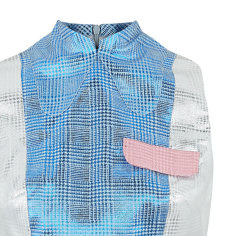 Block Shirt Dress shirtdress sleeveless blue silver pink shiny front close-up image photo picture