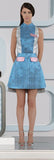 Block Shirt Dress shirtdress sleeveless blue silver pink shiny front model image photo picture