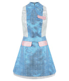 Block Shirt Dress shirtdress sleeveless blue silver pink shiny front image photo picture
