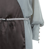 Drawstring Dress long chiffon grey gray black pink front close-up image photo picture
