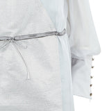 Mixed Drawstring Dress long chiffon metallic beige white ping grey gray front close-up image photo picture