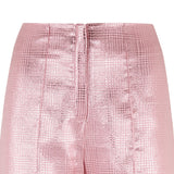 Pink Bell Trouser pants slacks bottoms shiny metallic front image close-up photo picture
