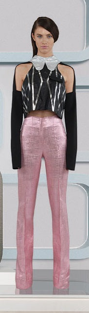 Pink Bell Trouser pants slacks bottoms shiny metallic model image photo picture
