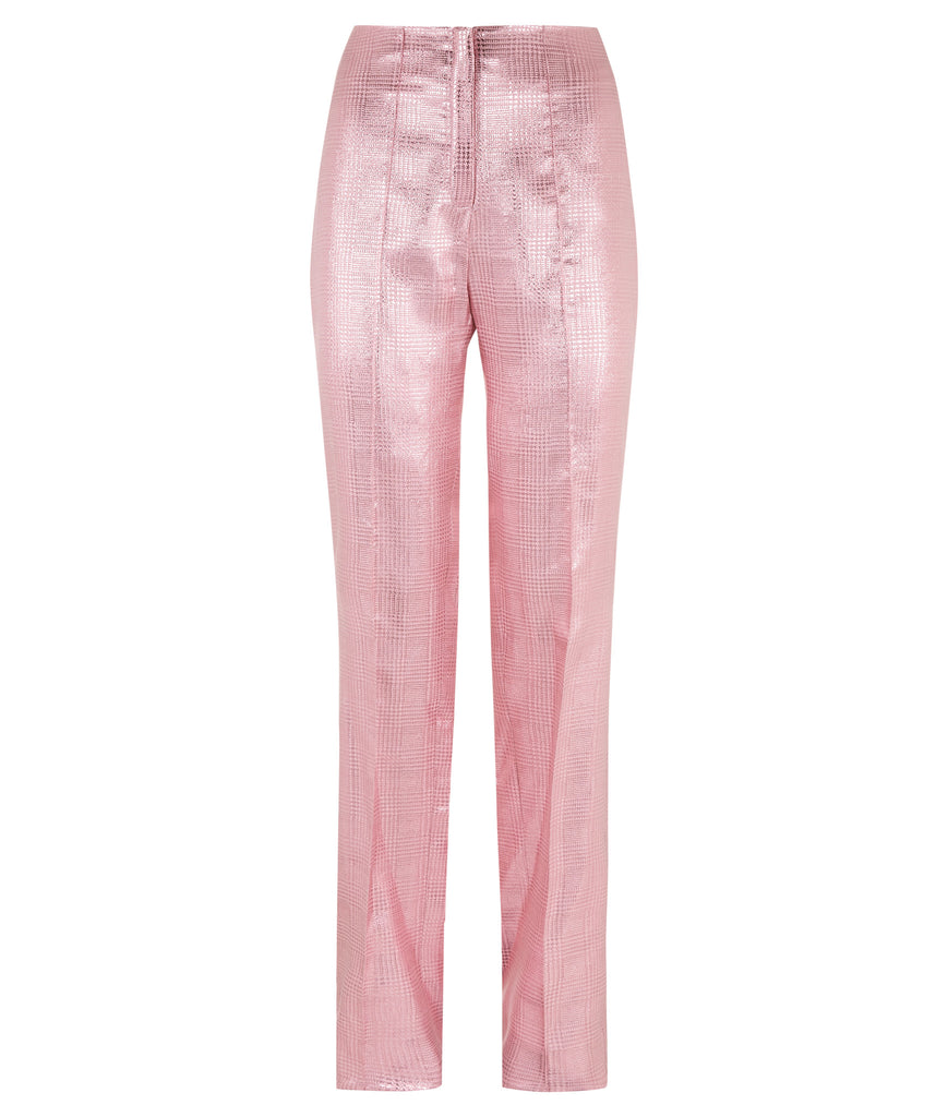 Pink Bell Trouser pants slacks bottoms shiny metallic front image photo picture
