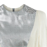 Mixed Shouldered Top blouse short sleeve beige silver shiny metallic soft jacquard front view image close-up photo picture