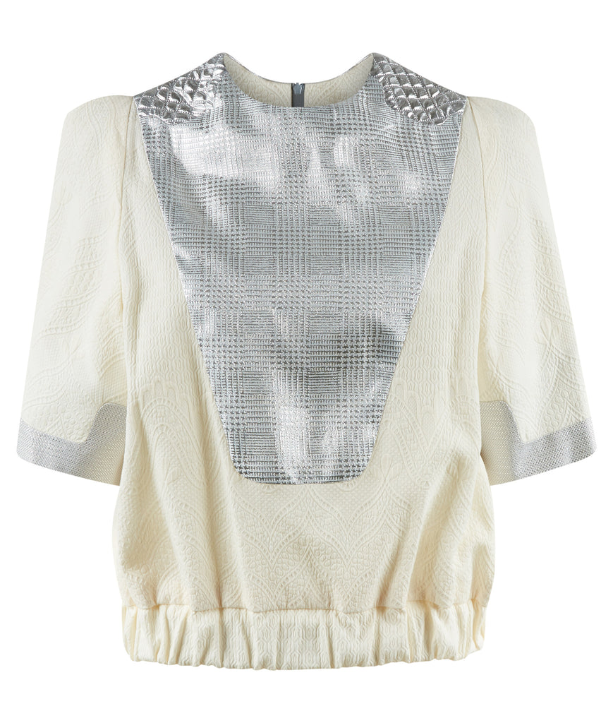 Mixed Shouldered Top blouse short sleeve silver beige shiny metallic soft jacquard front view image photo picture