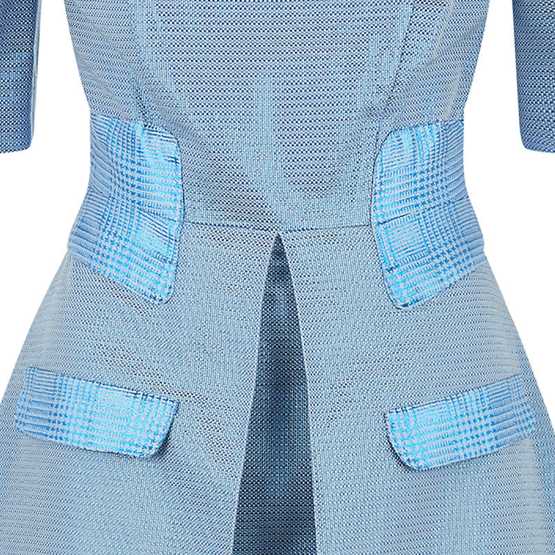 Prize Dress long mid-sleeve blue metallic front view close-up image photo picture
