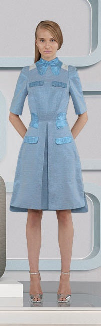 Prize Dress long mid-sleeve blue metallic front view model image photo picture
