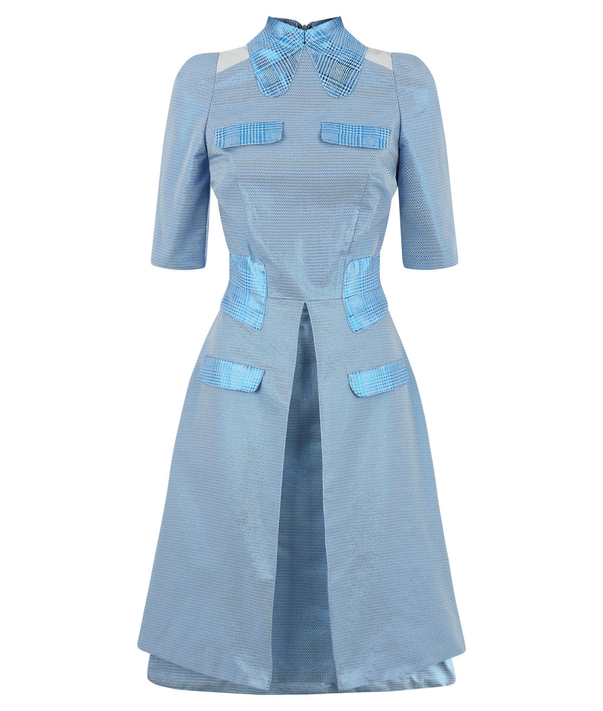 Prize Dress long mid-sleeve blue metallic front view image photo picture