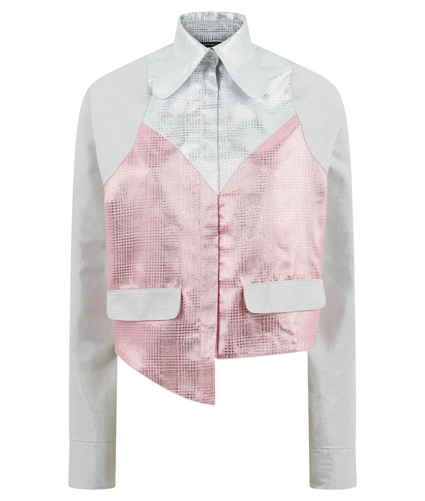 Mini Jacket crop silver pink metallic front view image photo picture