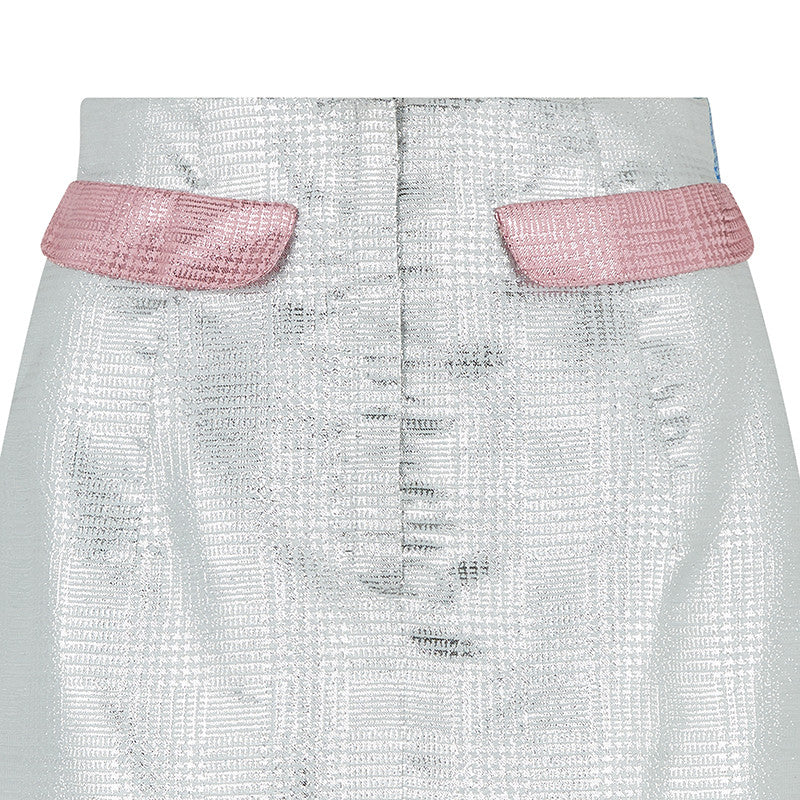 Mini Skirt silver pink plaid metallic close-up image photo picture