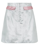 Mini Skirt silver pink plaid metallic image photo picture