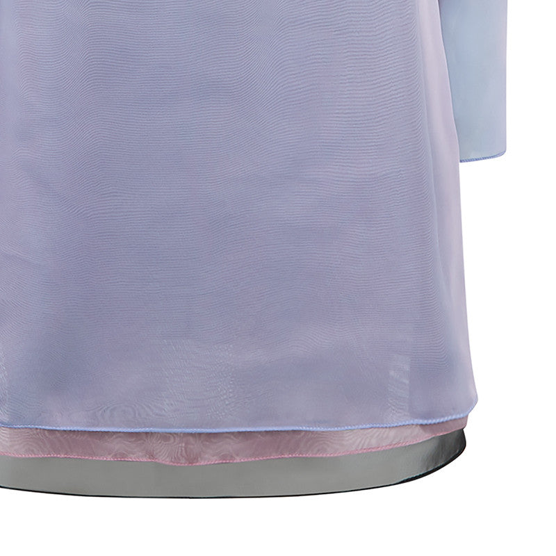 Sided Chiffon Dress long layered asymetrical blue pink grey gray front close-up image photo picture
