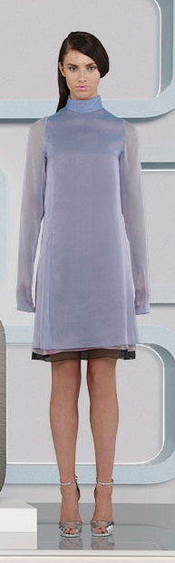 Sided Chiffon Dress long layered asymetrical blue pink grey gray front model image photo picture