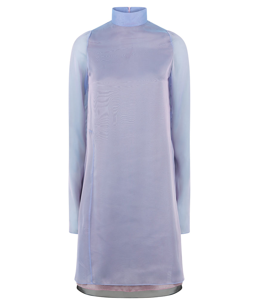 Sided Chiffon Dress long layered asymetrical blue pink grey gray front image photo picture