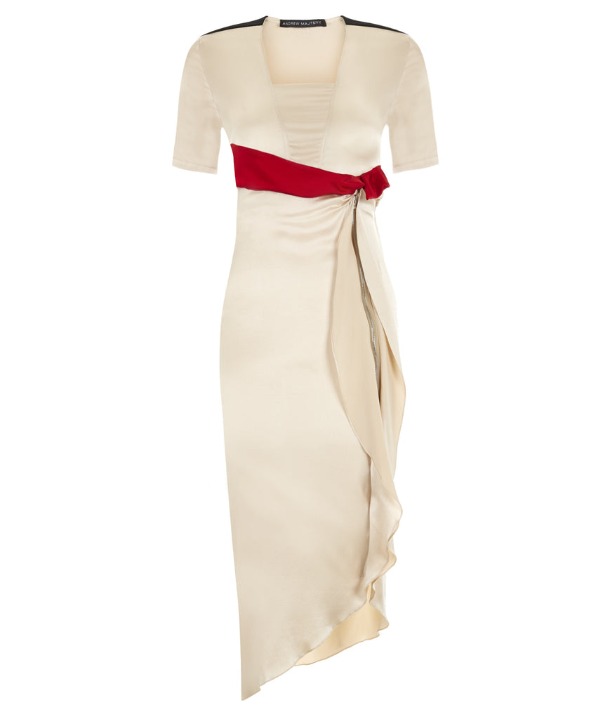 Light Flutter Dress long asymmetrical beige red silk stretch front image photo picture