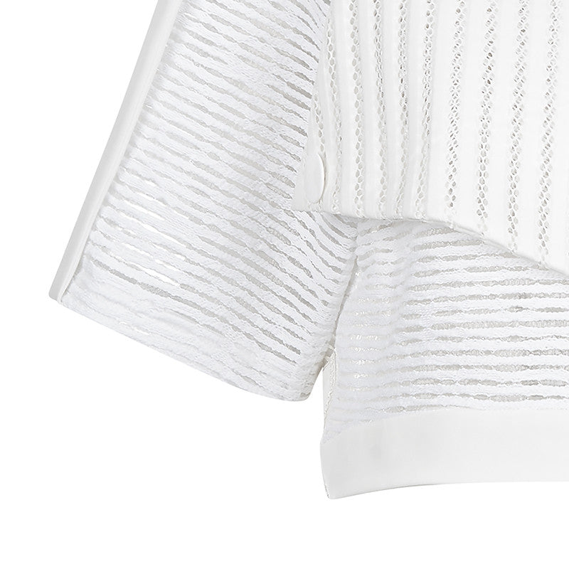 White Officer Crop top blouse solid texture stripe sleeves front close-up image photo picture