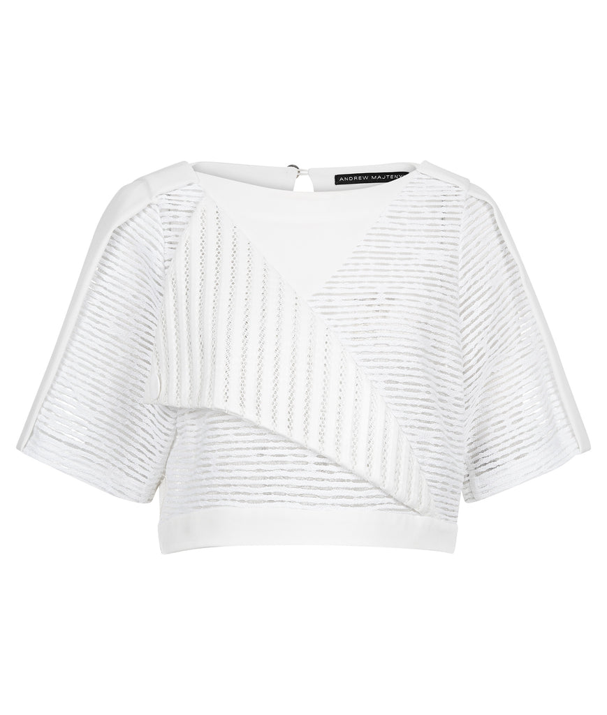 White Officer Crop top blouse solid texture stripe sleeves front image photo picture