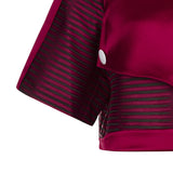 Red Officer Crop top blouse sleeves red solid stripe satin front close-up image photo picture