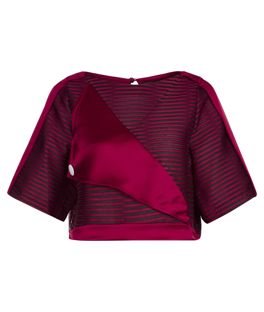 Red Officer Crop top blouse sleeves red solid stripe satin front image photo picture