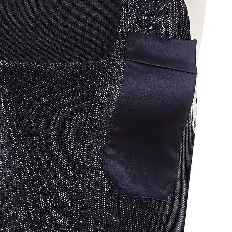 Sleeveless Pocket Top blouse crop blue navy beige stretch front close-up image photo picture