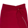 Red Flutter Skirt long asymmetrical stretch satin front close-up image photo picture