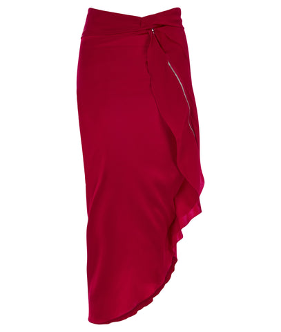 150609B-Red Side Drape Dress