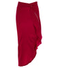 Red Flutter Skirt long asymmetrical stretch satin front image photo picture
