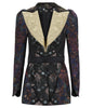 Romanov Jacket coat outerwear brass copper burgundy gold textured floral lapel image photo picture