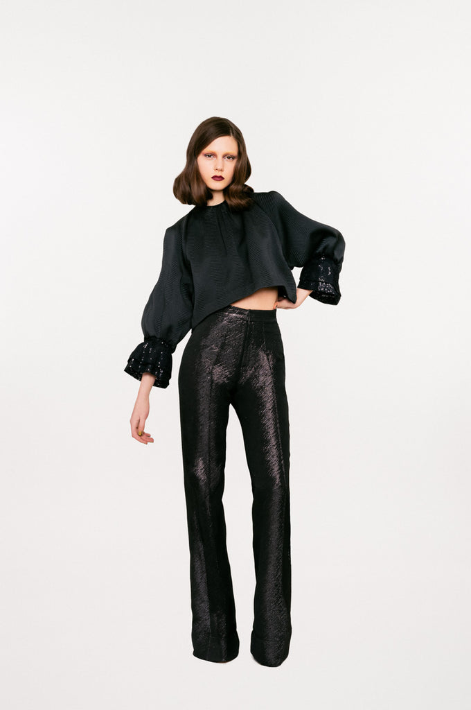 Black Sparkle Trouser pant pants slacks high waisted texture model photo picture