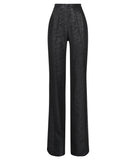 Black Sparkle Trouser pant pants slacks high waisted texture front image photo picture