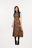 Vic Dress long sleeveless gold brass burgundy copper green trim floral jacquard front model image photo picture